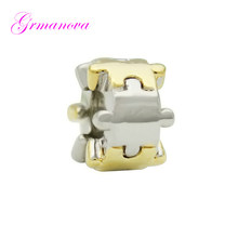 Zinc alloy classic fashion puzzle charm beads DIY handmade jewelry amulet Fit Pandora Bracelet Necklace(China)