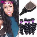 7а класс Необработанные Перуанский Девы Волос С Закрытие Продукты Королева Волосы С Закрытием Bundle Перуанский Свободная Волна С Закрытием