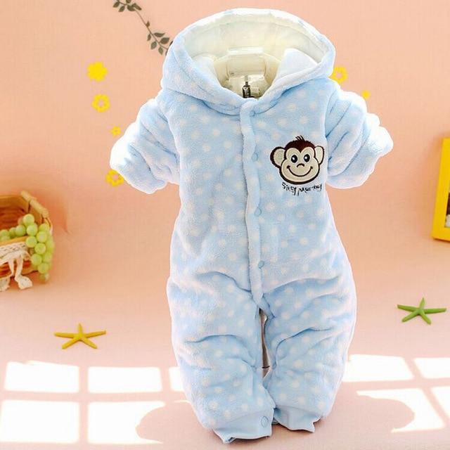c1b9623003295 Nouveau-né bébé vêtements d hiver barboteuses en coton épaissir chaud bébé  fille garçon