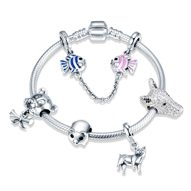 SG 100% 925 Sterling Silver animal dog with white cz charms beads Bracelets & Bangles Fashion diy Jewelry making for women giftSG 100% 925 Sterling Silver animal dog with white cz charms beads Bracelets & Bangles Fashion diy Jewelry making for women gift