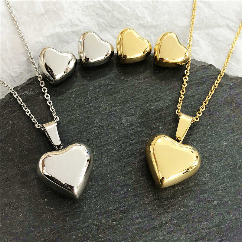 Fashion Jewelry Gold Color Romantic Crystal Heart Shape Chain Necklace Earrings Pendant Jewelry Sets Woman Mother's Lover Gifts