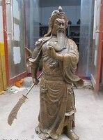 bi002268 39China Bronze Sculpture dragon long Beautiful beard god knife Guan Gong Statue