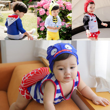 Free Shipping 2017 Top Quality Cute Animal New Swimsuit Children Swimwear Girls Kids Bikini Skirt Set Baby Princess Swim Wear
