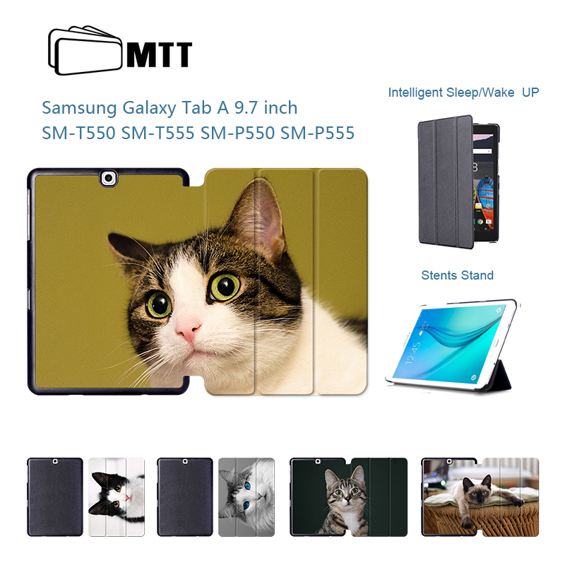 Cute Pet Cats Painted For <font><b>Samsung</b></font> <font><b>Galaxy</b></font> <font><b>Tab</b></font> A 9.7 inch <font><b>Case</b></font> Flip Stand Leather <font><b>Cover</b></font> for <font><b>Samsung</b></font> <font><b>SM</b></font> <font><b>T550</b></font> P550 P555 T555C Tablet image
