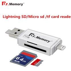 د. ذاكرة ميموري 3 في 1 قارئ بطاقات ل البرق/مايكرو/USB 2.0 بطاقة مايكرو SD/TF بطاقة وتغ قارئ لباد/اي فون بطاقة محول