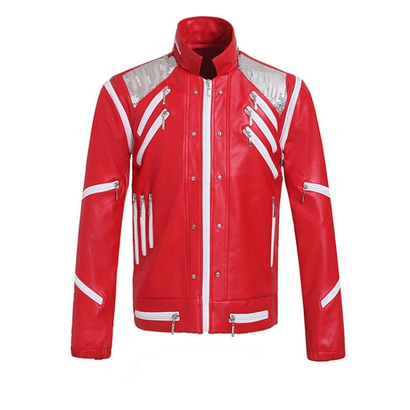Rare PUNK Rock Moto Classic MJ MICHAEL JACKSON Costume Beat it Rosso del Rivestimento Della Chiusura Lampo Ventole Imitatore Best Regalo