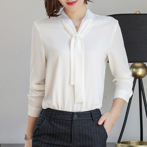 Image 3 - New Fashion Temperament Women Clothing Long Sleeve Blouses Formal Slim Tie Chiffon Shirt Office Ladies Plus Size Tops Navy Blue
