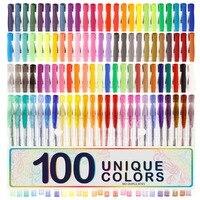 100 Gel Pens Set Pen Glitter Neon Metallic Color Art Coloring Books Colors Craft Z9001