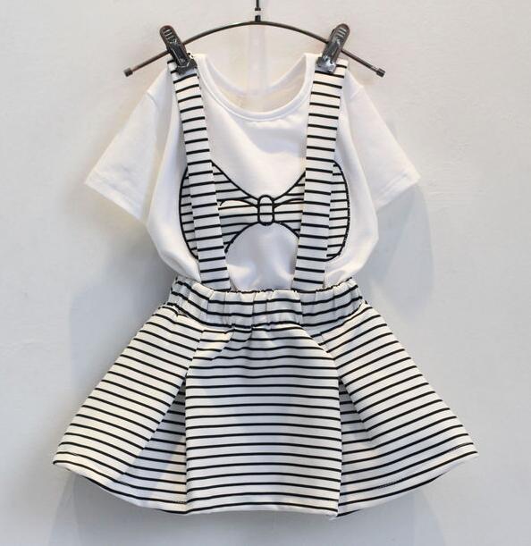 Summer suit Baby Girls Bowknot short sleeve t-shirt + stripes braces skirt Suit Children 2pcs set wholesale