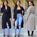 2016 Модные Девушки С Длинным Рукавом Пальто 2 Цвета Плащ Бурелом Jaqueta Feminina Куртки Де Cuero Mujer Женщины Тренч Зима