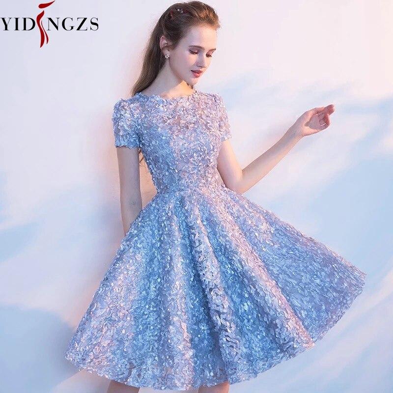 YIDINGZS élégante robe de bal en dentelle grise Simple robe de soirée courte