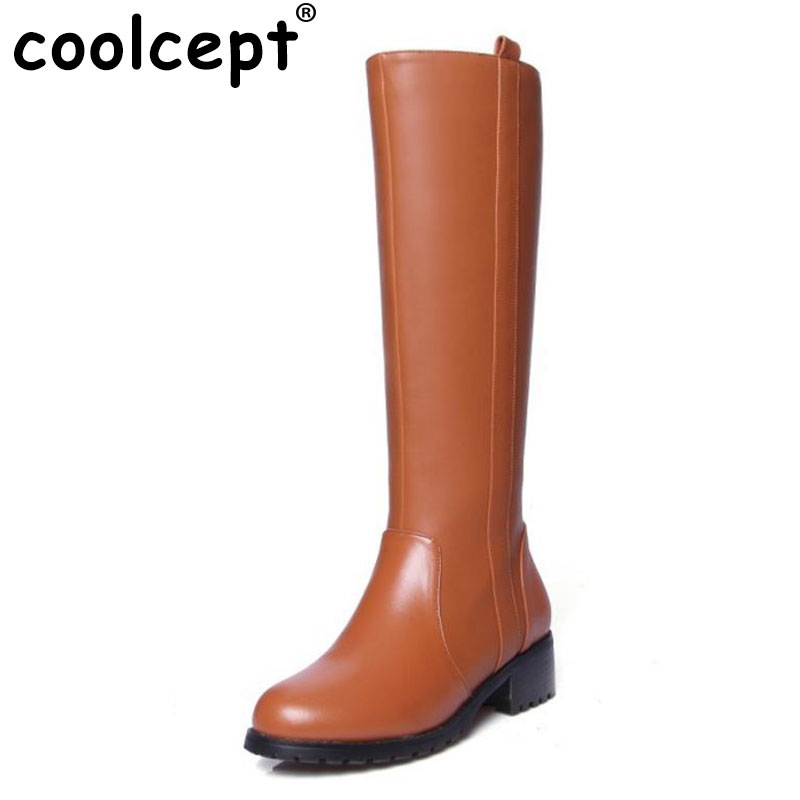 Coolcept Women Real Leather Knee Boots Square Heel Shoes Fashion Female Zipper Shoes Winter Cool Boots
