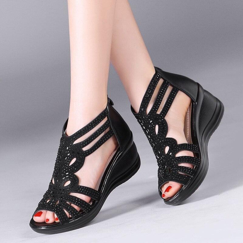 Tamaño Femenino Toe Out Verano Zurriago Negro Peep Sandalias Mujeres 61 Cuero Niza Del Hollow oro Gran Zapatos Cuña Cómodo Diamante Auténtico 8wqWpffF