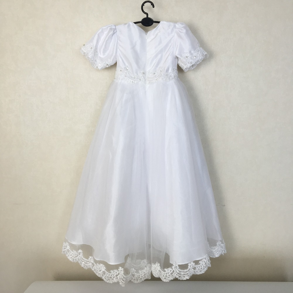 Boys girls BABY Cotton Silk Vintage christening gown White Lace Long ...