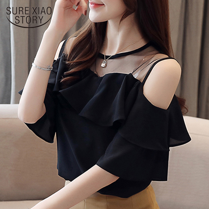 Womens Tops And Blouses Summer Women Blouses 2019 White Blouse  Short Sleeve Chiffon Blouse Women Shirt Off Shoulder Top 4206 50