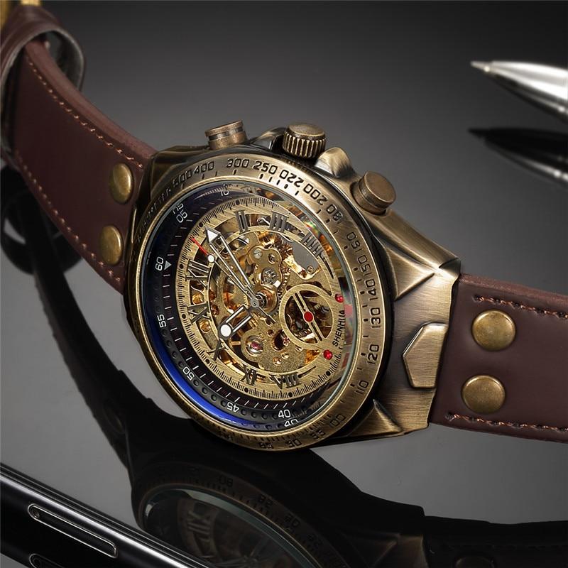 HTB1Aeb2XffsK1RjSszbq6AqBXXaC Men Watch Skeleton Automatic Mechanical Male Clock Top Brand Luxury Retro Bronze Sport Military Wristwatch relogio Masculino