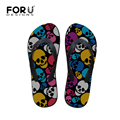 Leisure Men Flip Flops Designer Printing Skull Head Flat Slipper Brand Summer Style Massage Male Flip Flops Free Shipping