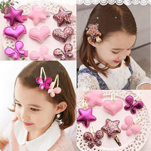 Children Summer Style Shiny Butterfly Hairpins Girls Hair Accessories Heart Star Hair Clip for Baby Dress Headwear @30(China)