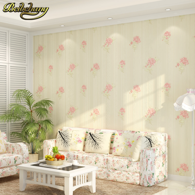 beibehang Simple pastoral flowers Wallpaper For Wall 3 D Classic TV Room Bedroom Wall paper Home Decor 3D flooring papel contact