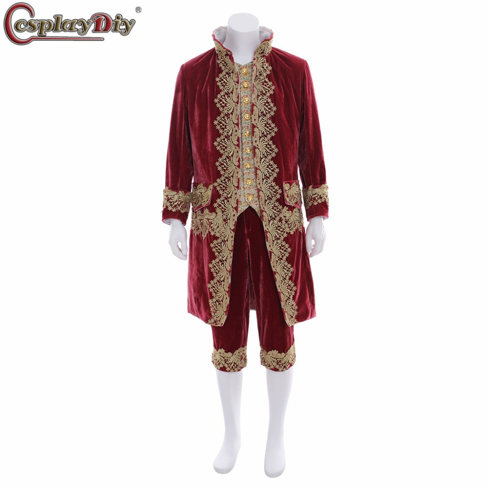 Cosplaydiy Victorian Gothic Aristocrat Royal Gentle Men Cosplay Costume Adult Men's Party Theatre Stage Performance Fancy Dress