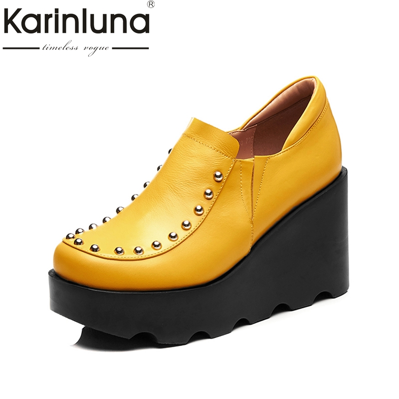 KARINLUNA high quality genuine cow leather black size 34-39 wedge high heel shoes women shoes round toe rivet pumps woman shoes nayiduyun women genuine leather wedge high heel pumps platform creepers round toe slip on casual shoes boots wedge sneakers