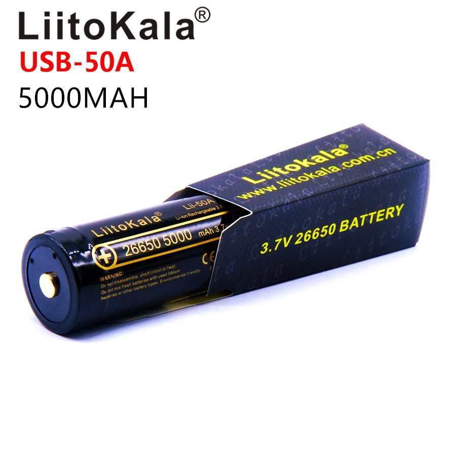 4piece LiitoKala lii-50A 26650 5000mAh lithium battery 3.7V 5000mAh 26650-50A for flashligh with LED indicator light DC charging