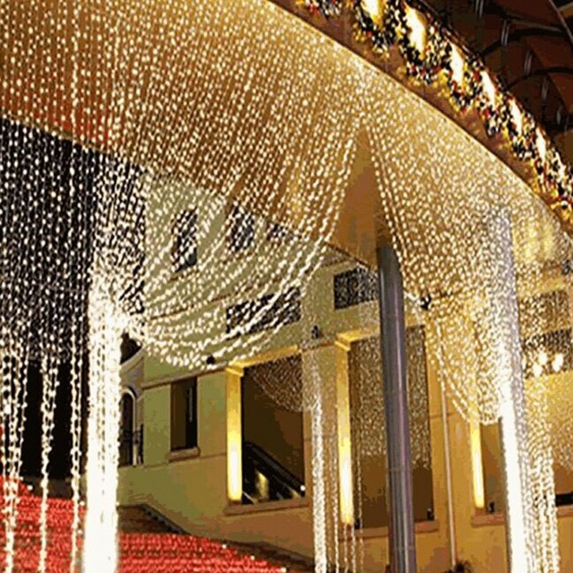 3 М Х 3 М 300 LED Занавес Сосулька Фея Огни Строки льда бар Лампы Рождество 220 В Новый год Сад Xmas Свадьба Декор