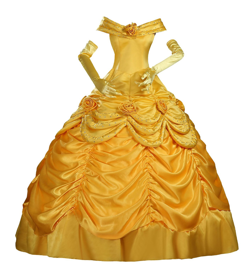Halloween costumes for adult Princess Belle yellow dress ...