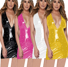 2019 spring and summer sexy strapless pearl dress female PU leather V-neck casual