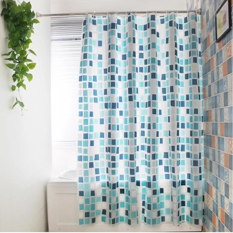 blue plaid waterproof peva shower curtain skidproof washable bathroom curtain mildew resistant quality bath accessories curtain