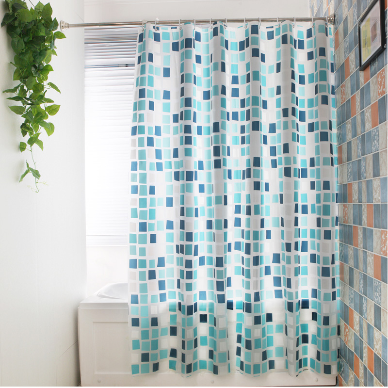Elegant Grid Style Waterproof Shower Curtains Warm Opaque Bathroom Accessories Mark Dragon Color Japanese Bath Partition Curtain