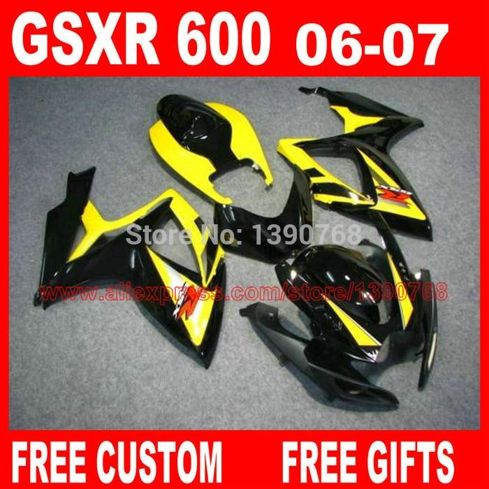 обтекатель комплект для 06 07 К6 К7 Сузуки GSXR 600 750 глянцевый черный желтый обтекатели комплект gsxr600 GSXR750 2006 2007 HV83