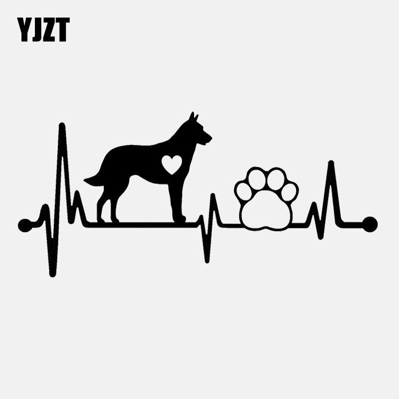 YJZT 15.1CM*6.9CM Belgian Malinois Heartbeat Lifeline Paw Vinyl  Decal Black/Silver Car Sticker C22-1048