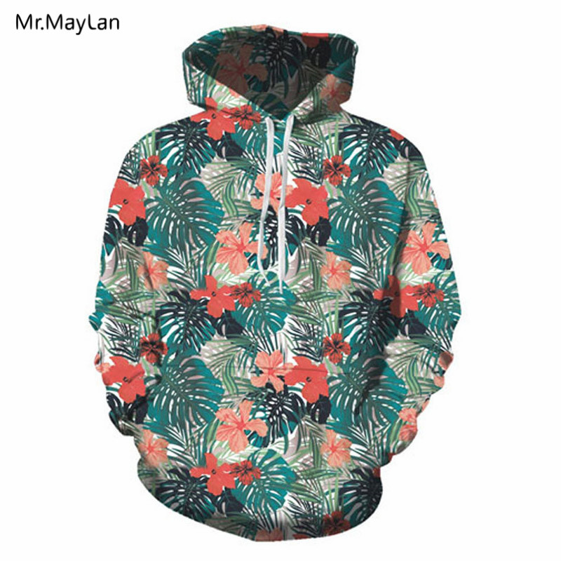 Men Sweatshirt Tropical Palm Tree Leaves Floral 3D Digital Printing Funny Hoodie Pullover with Pockets