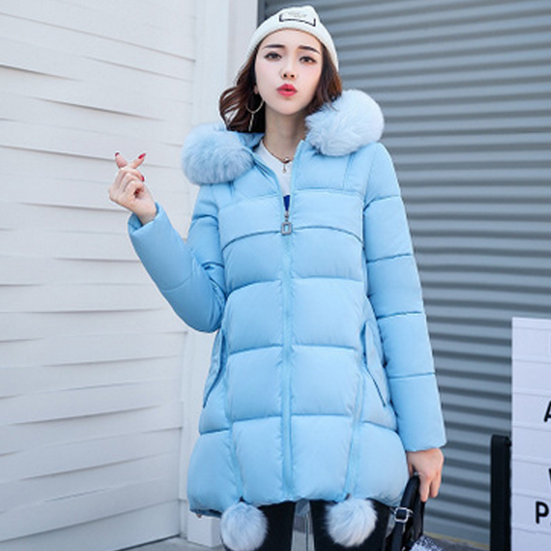 2017 Winter Jacket Women Fashion Coat Fur Collar Cotton Padded Hooded Thick Warm Outwear Parka Slim Female Down Six Colors S-3XL s 2xl 2 colors 2015 new winter women down coat long slim turn down collar zipper jacket female belt pocket outwear zs308