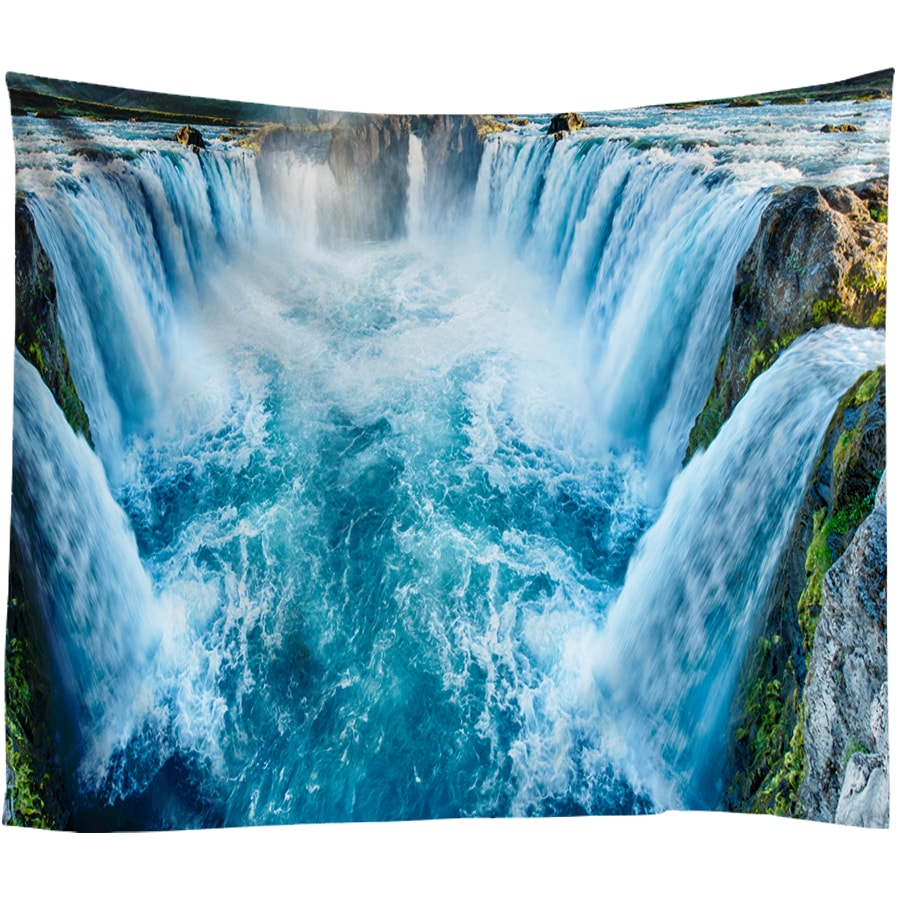 3D Waterfall Printed Wall Tapestry Tranquil Beach Sea Wall Hanging Boho Tapestries Bohemian Decorative Big Hippie Wall Blanket in Tapestry from Home Garden