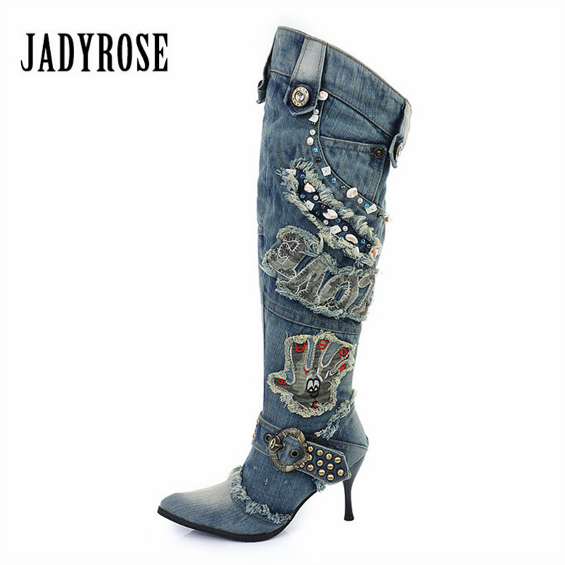 Jady Rose 2018 New Female Denim Boots High Heel Knee High Boots Rivets Beading Winter Warm Jean Botas Mujer Rubber Boots Women new 2017 pencil denim pants women high waist skinny stretch jean female autumn jeans feet pantalones mujer f414