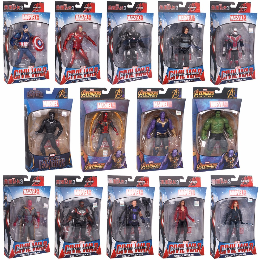 Hasbro Marvel with Holder The Avengers  America Captain Ant Man Black Panther War machine Black Widow  Iron Man Action Figures  1