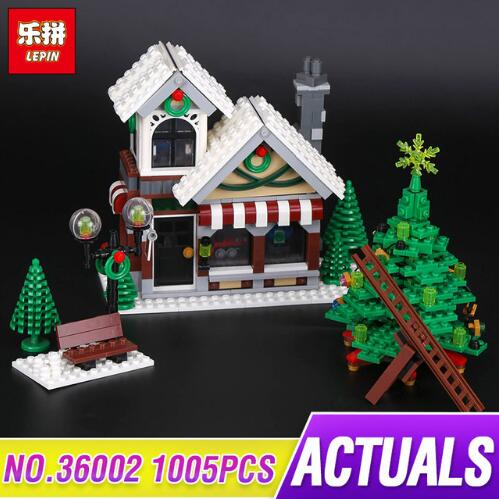 LEPIN 36002 1005pcs Cinderella Christmas Hat Winter Toy Store 10249 Creative Series Building Blocks Toy Model As Gift lepin 36002 1005pcs street view series winter toy store christmas model building blocks set bricks toys for children gift 10249
