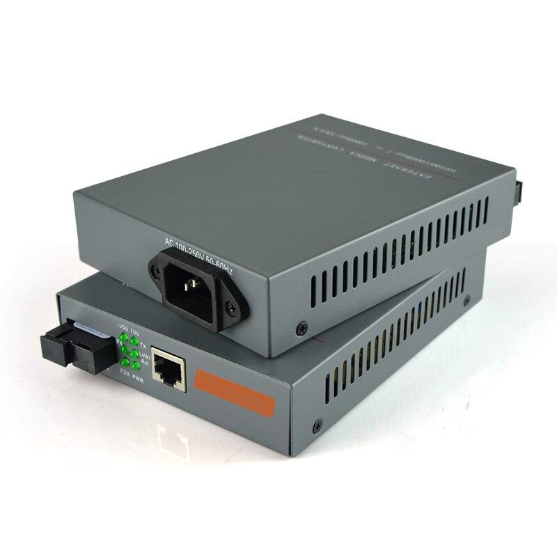 1 Pair HTB-GS-03 A/B Gigabit Fiber Optical Media Converter 1000Mbps Single Mode Single Fiber SC Port With Built-in Power Supply
