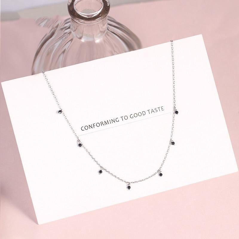 925 Sterling Silver Choker Necklace For Women Japanese Style Girls Black Bead Sh