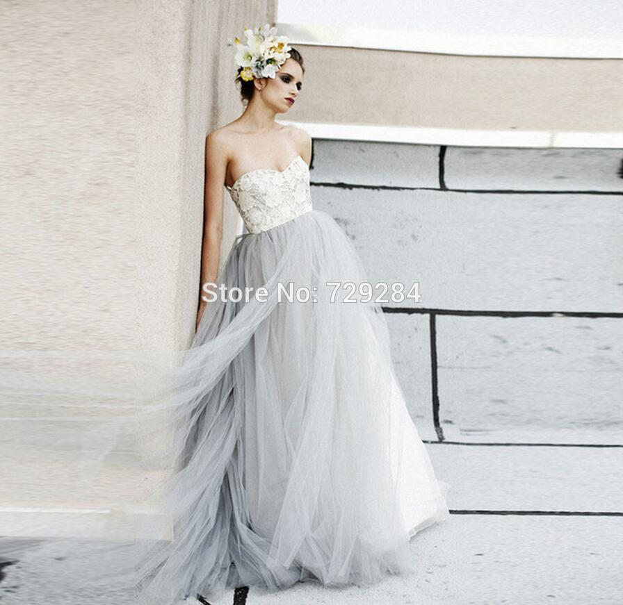 Vintage Light Gray Tulle Ivory Lace Wedding Dresses Puffy 2016 Beach ...