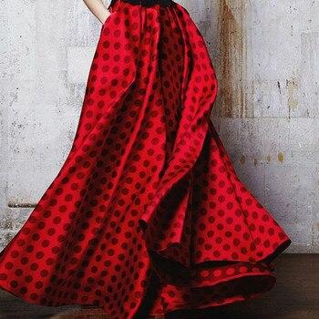 fall winter maxi long umbrella a-line floor-length polka dot skirt for women stretch high waist womens skirts fashion saias red Юбка
