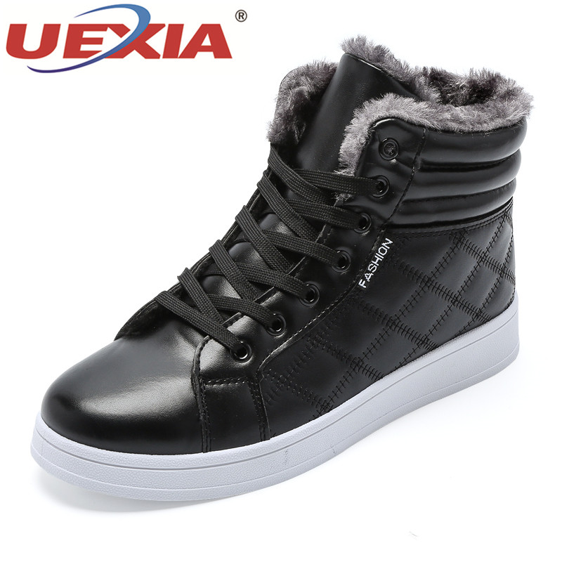 цена на UEXIA Fashion Men Snow Boots Leather Autumn Winter Ankle Boots High Top Footwear Winter Plush Fur Warm Boots Male Casual Shoes
