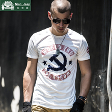 Military Style Summer Letter Print T-shirt Men Cotton short sleeve Arm