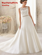 BacklakeGirls 2017 A Line Bride Gown Scoop Neck Court Train Sexy Backless Beaded Vintage Wedding Dress Custom Made