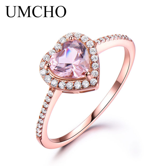 UMCHO Pure 925 Sterling Silver Ring Heart Pink Morganite Rings For Women Engagem