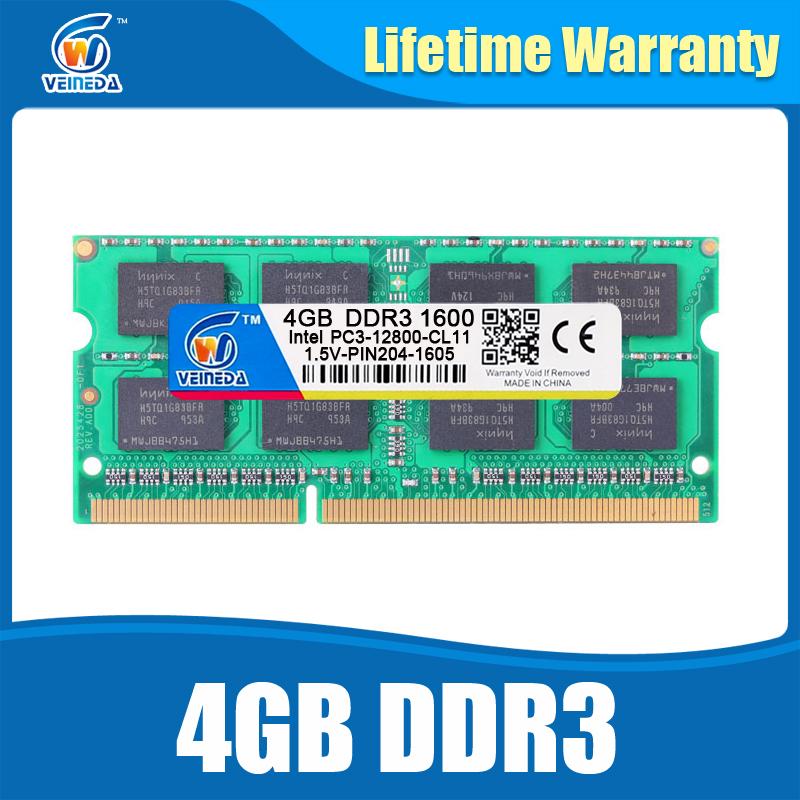 Prix pour DDR3 4 GB 1600NHz PC3-12800 mémoire So-dimm Compatible ddr3 1333 PC3-10600 ddr 3 204pin Pour AMD Intel Ordinateur Portable Garantie à vie
