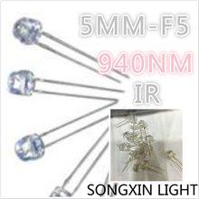 XIASONGXIN LICHT 100pcs Infrarot IR LED 5mm 940nm F5 LED lamo ,5MM LED dioden, DIP-2