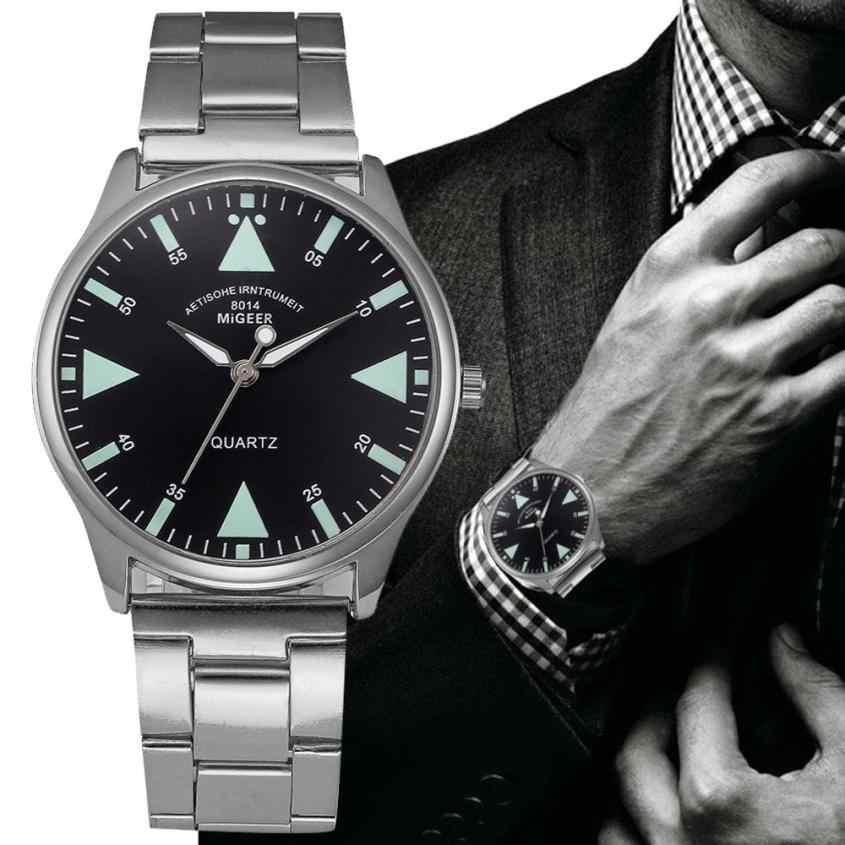 Mens Relógios Em Aço Inoxidável Relógio de Pulso Moda Pulseira de Cristal De Quartzo Analógico Relógio de Pulso Dos Homens de Negócios de Luxo reloj hombre # D